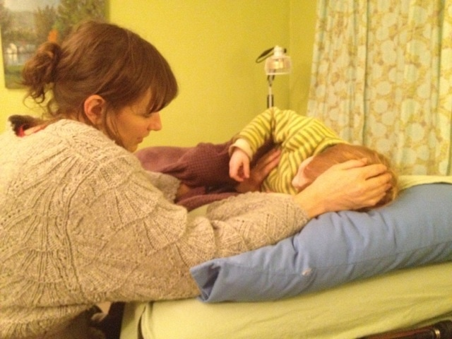 Stephanie working with a young clients at Portland Family Health